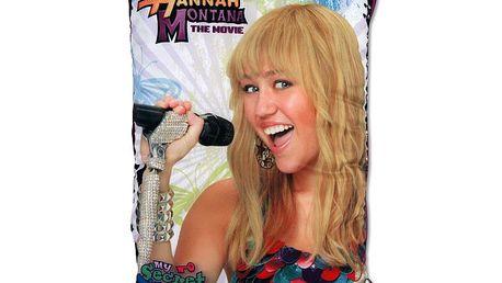 Můj tajný polštář Hannah Montana. Připoj svoji MP3 přehrávač. Tajné kapsy uvnitř. Kalendář i diář.