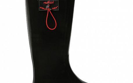 Dámske lesklé čierne rolovacie čižmy RedFoot s červenými detailami