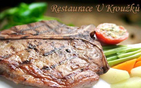 2x 450g T-Bone steak, 2x příloha a omáčka