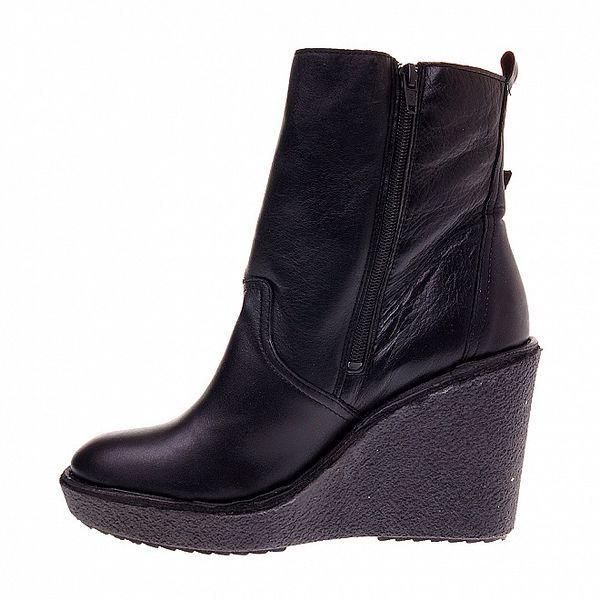 Dámske čierne kožené topánky Buffalo na vysokom podpätku