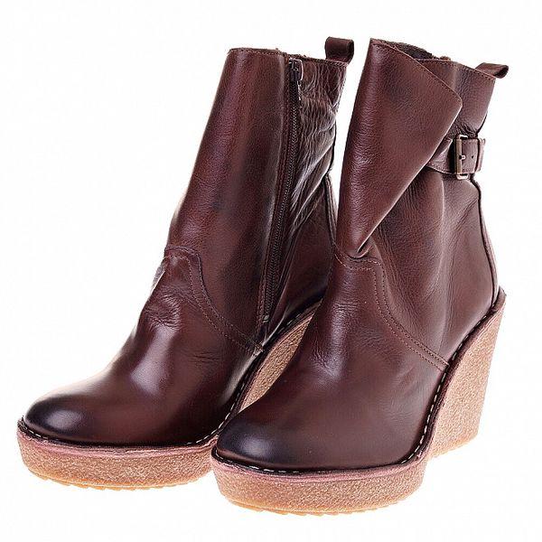 Dámské čokoládově hnědé kožené boty Buffalo na vysokém klínu