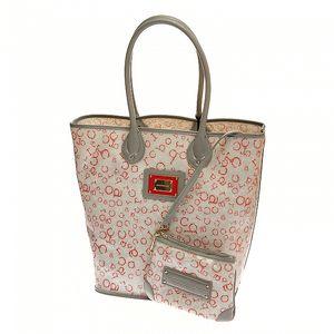 Velká šedo-červená plážová taška Roccobarocco