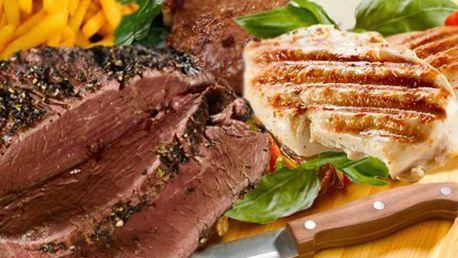Steakové prkno s 640 g masa a 3 přílohami!