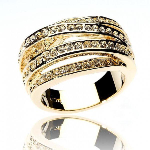 Dámsky zlatý prsteň Bague a Dames so zirkónmi