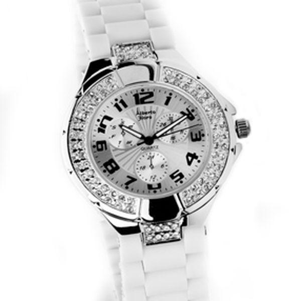 Dámské stříbrné hodinky Bague a Dames s bílým silikonovým páskem a zirkony