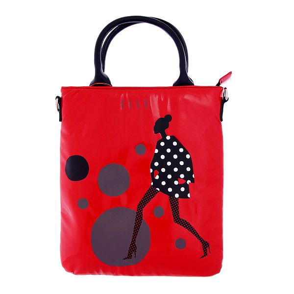 Dámska červená taška na iPad Elle s potlačou