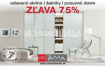50 € za kupón v hodnote 200 € na vstavané skrine, šatníky a posuvné dvere od slovenského výrobcu ZAMA Interiér.