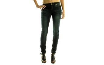 Dámske tmavo modré skinny džínsy Rocawear so zlatými detailami