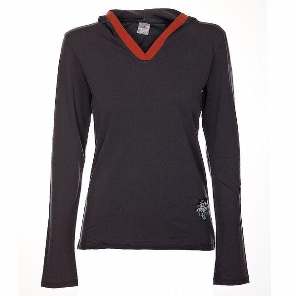 Dámske tmavo šedé tričko Hannah s tehlovým lemom a kapucou