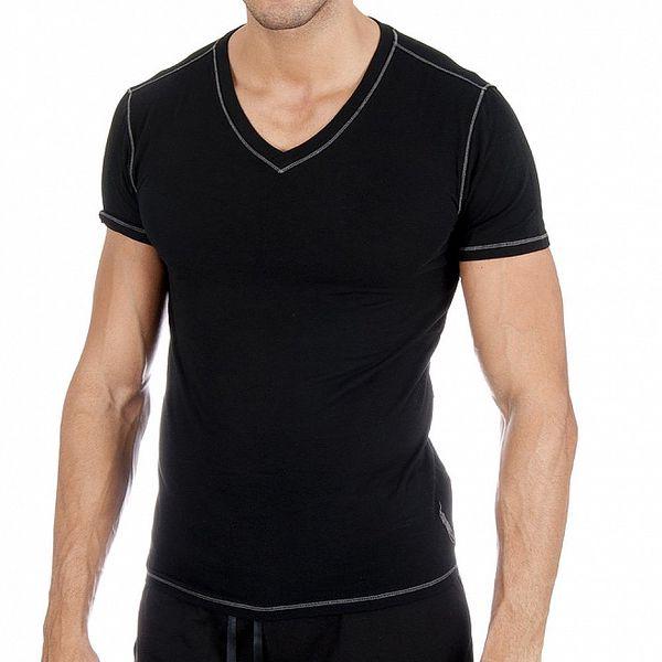 Čierne tričko s véčkom a bielym prešívaním Ralph Lauren