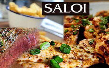 Šťavnatý 2x jihoamerický hovězí rumpsteak anebo steaková fošna v Olomouci za 199 Kč! Vyberte si svoji variantu a přijďte si ji vychutnat do restaurace SALOI se slevou 56%.