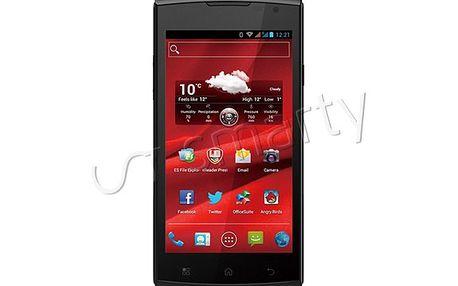 Funkcemi nabitý telefon Prestigio MultiPhone 4500 DUO černý. Obří displej a dvě SIM karty uvnitř.