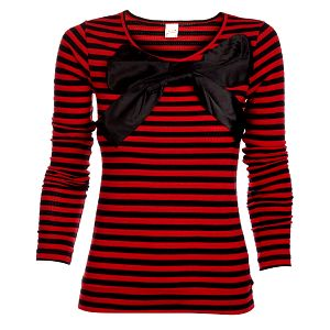 Dámský červeno-černý proužkovaný svetr Pussy Deluxe s velkou saténovou mašlí