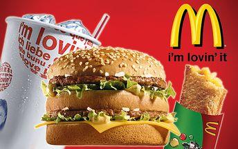 Šťavnatý BigMac sendvič a k tomu veľký sýtený nápoj a jablková taštička len za 2,80 € namiesto pôvodných 5,60 €.