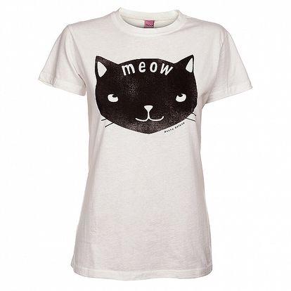 Dámske biele tričko Pussy Deluxe s mačkou