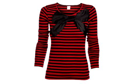 Dámsky červeno-čierny prúžkovaný sveter Pussy Deluxe s velkou saténovou mašľou