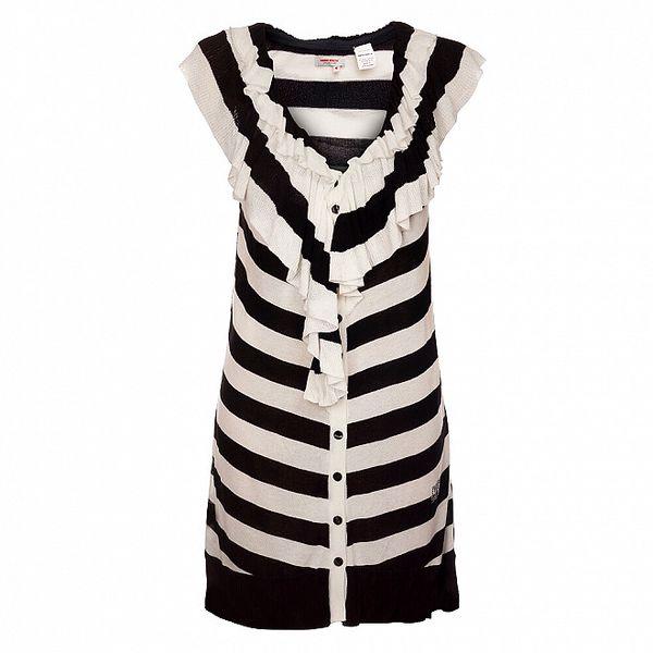 Dámská černo-bílá proužkovaná vesta Miss Sixty s volánem