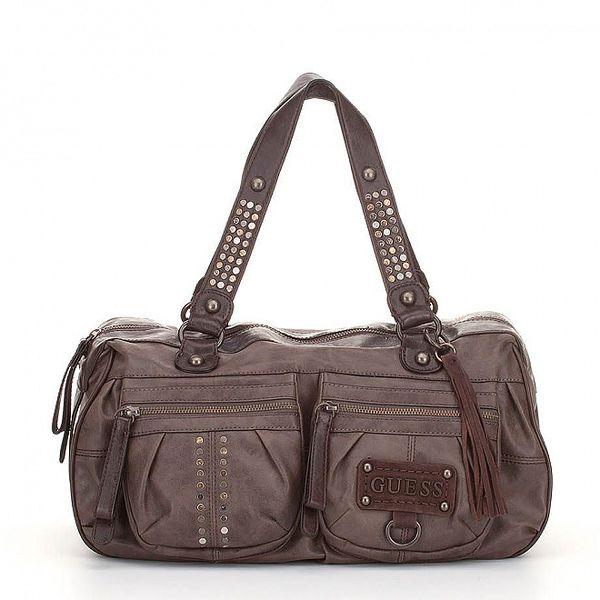 Dámska tmavo hnedá kabelka Guess s kovovými cvokmi