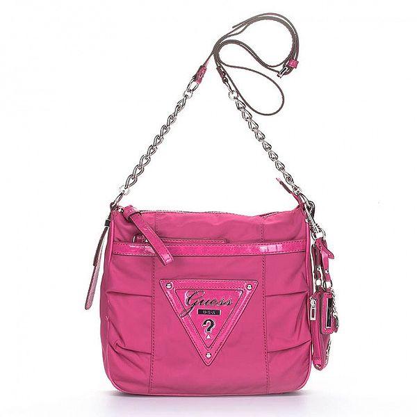 Dámská růžová kabelka Guess s řetízkem