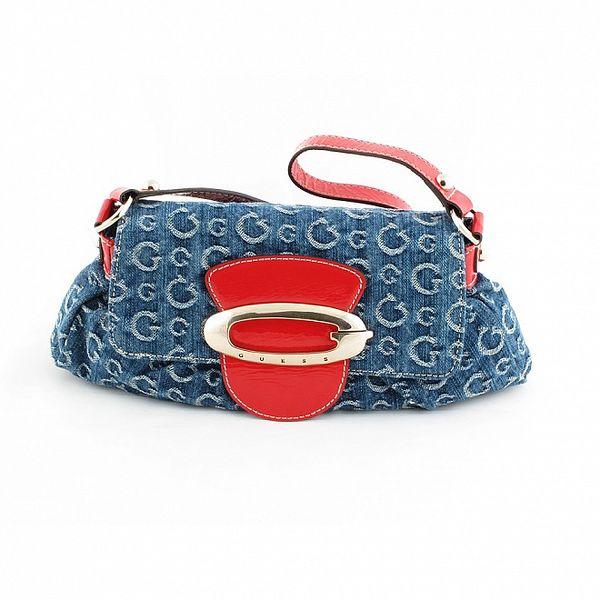 Dámská tmavě modrá denimová kabelka Guess s červenými detaily