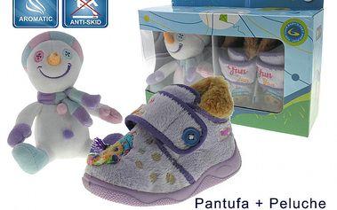 Detské voňavé fialové papučky Beppi s plyšákom