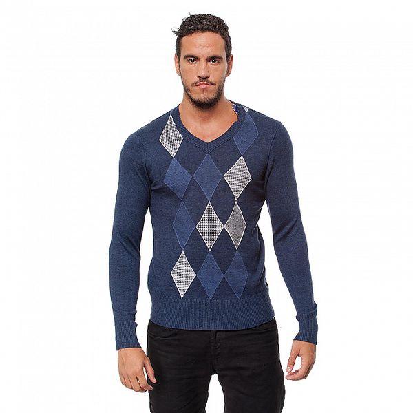 Pánsky modrý károvaný sveter Bendorff