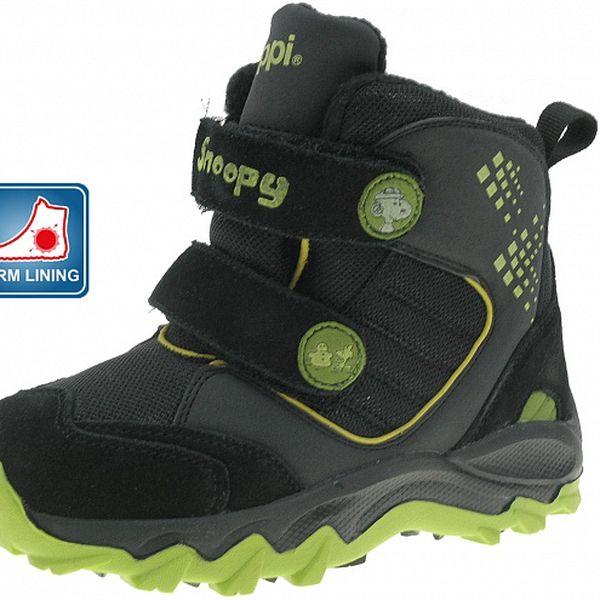 Detské čierne zimné topánky Beppi se zelenými detailami