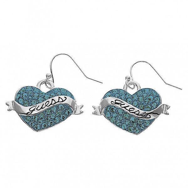 Dámské náušnice Guess srdce s modrými kamínky