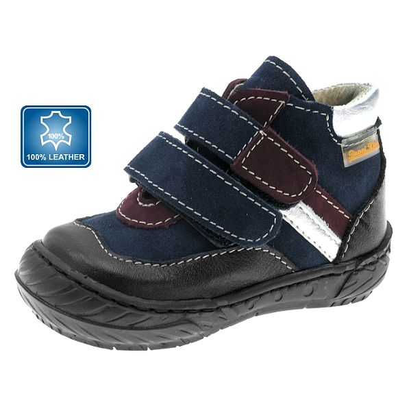Detské modro-čierne kožené topánočky Beppi s vínovými a striebornými prúžkami