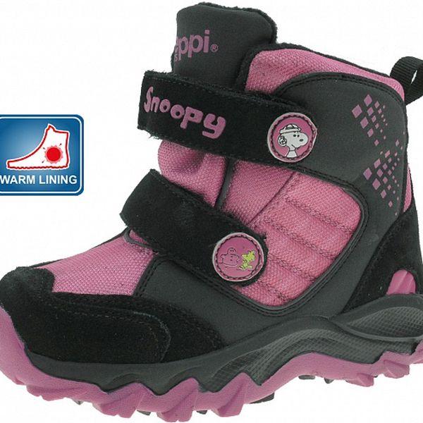 Dětské černo-růžové zimní boty Beppi