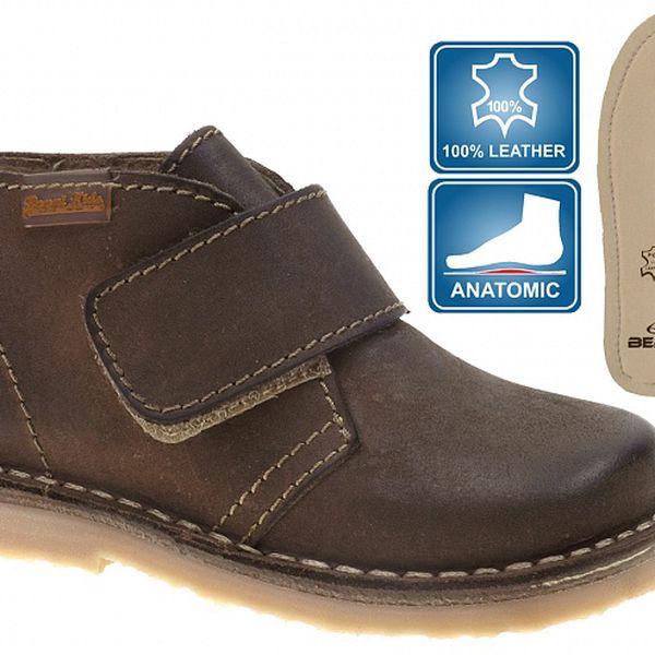 Dětské hnědé kožené boty Beppi