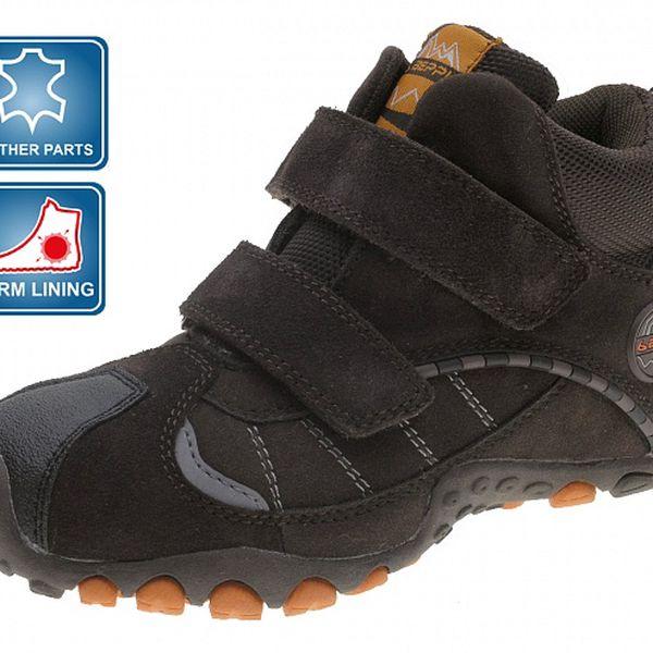 Tmavo hnedé detské zimné zateplené topánky Beppi