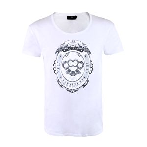"""Pánske biele tričko Ron Abraham s čiernou potlačou """"Colére"""""""