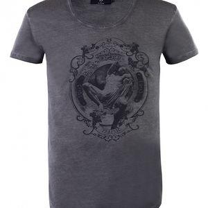 """Pánské antracitové tričko Ron Abraham s černým potiskem """"Paresse"""""""