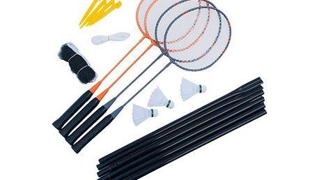 Badmintonový set pro 4 hráče. Máte rádi badminton a nemáte ještě výbavu? S tímto setem stačí už jen vzít 3 další hráče a vyrazit na kurt!