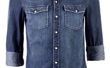 Pánská tmavě modrá džínová košile Ron Abraham