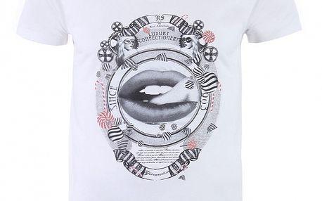 """Pánské bílé tričko Ron Abraham s černým potiskem """"Gourmandise"""""""