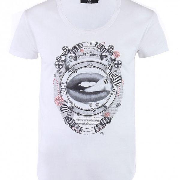 """Pánske biele tričko Ron Abraham s čiernou potlačou """"Gourmandiso"""""""