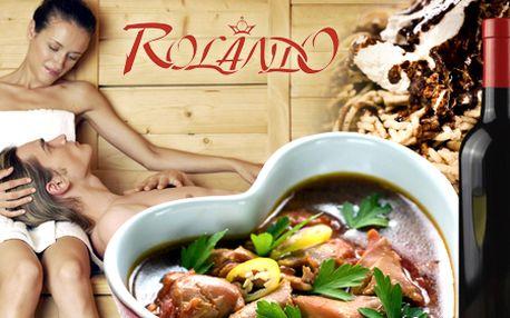 Spravte si krásny večer vo dvojici v reštaurácii Rolando! 3-chodová večera, horúca sauna a blahodárna masáž. Prekvapte svoju lásku originálnym darčekom!