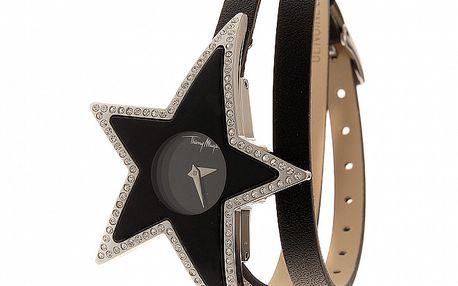 Dámské černé ocelové hodinky ve tvaru hvězdy Thierry Mugler s černým koženým řemínkem a kamínky