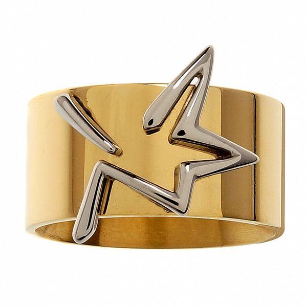 Dámský zlatý ocelový prsten Thierry Mugler se stříbrnou hvězdou