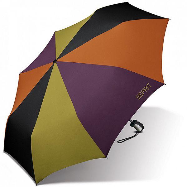 Dámsky pestrofarebný dáždnik Esprit so zeleným logom
