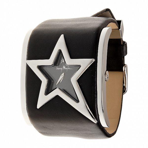 Dámské ocelové hodinky Thierry Mugler s černým koženým řemínkem
