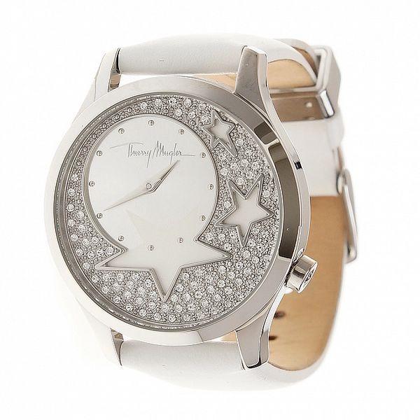Dámske oceľové hodinky Thierry Mugler s kamienkami a bielym koženým remienkom