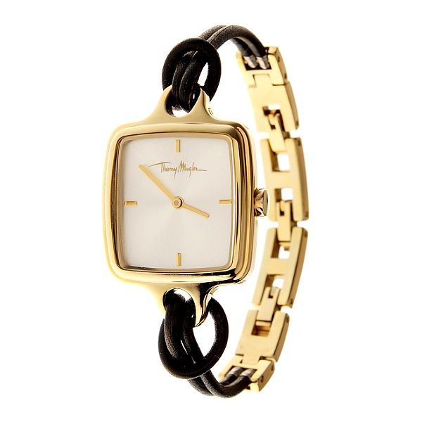 Dámske zlaté oceľové hodinky Thierry Mugler s kombinovaným remienkom