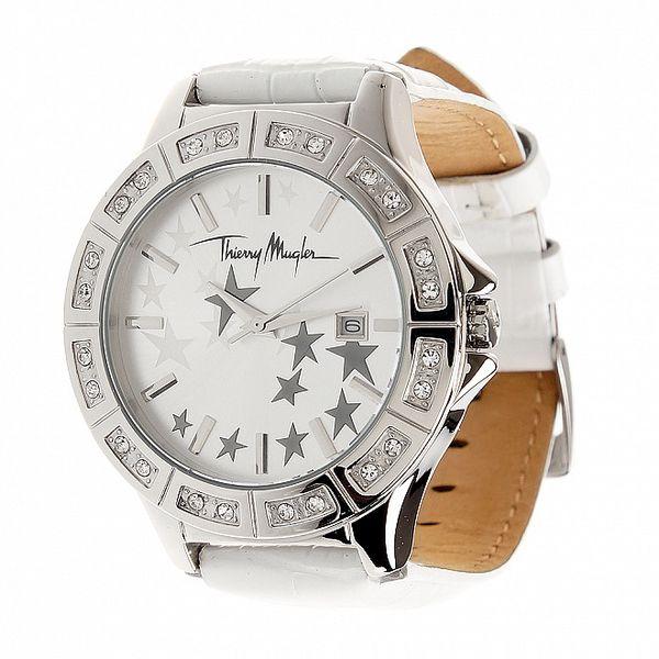 Dámské ocelové hodinky Thierry Mugler s bílým koženým řemínkem a kamínky