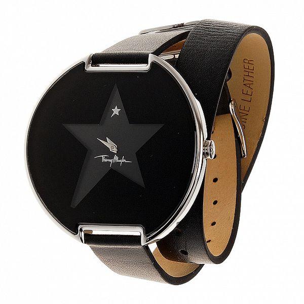 Dámské černé náramkové hodinky Thierry Mugler s dlouhým koženým řemínkem