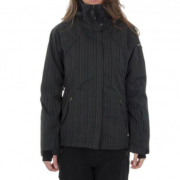 Dámska tmavo šedá zimná bunda Columbia s prúžkami s membránou