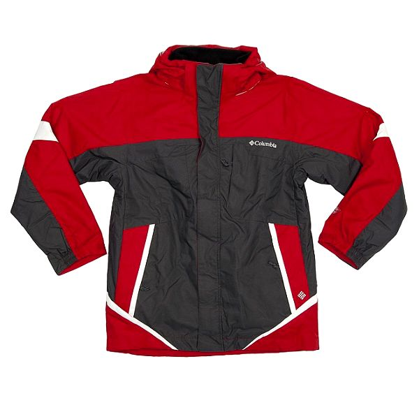 Detská červeno-šedá športová bunda Columbia s membránou a vyberateľnou vložkou