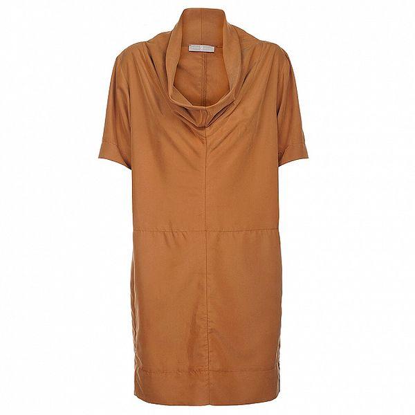 Dámské světle hnědé šaty Pietro Filipi se širokým límcem